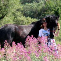 Un cheval mérens avec sa propriétaire dans un champ